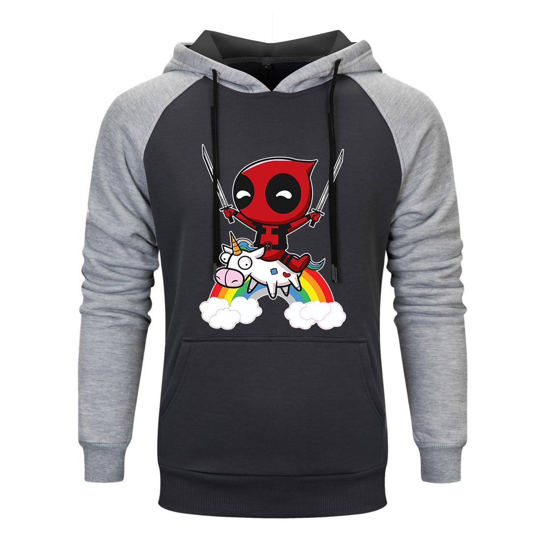 2019 New Marvel movie Deadpool print Hoodies Men Harajuku Leisure Soft Cotton Raglan Hoodies White hoody Streetwear sweatshirt in Hoodies amp Sweatshirts from Men 39 s Clothing