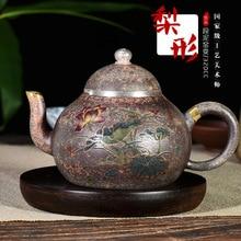 Чайник в форме Золотой груши Исин темно-красный эмалированный керамический чайник Подарочный Производитель Заказной оптовый выпуск доставляемых товаров