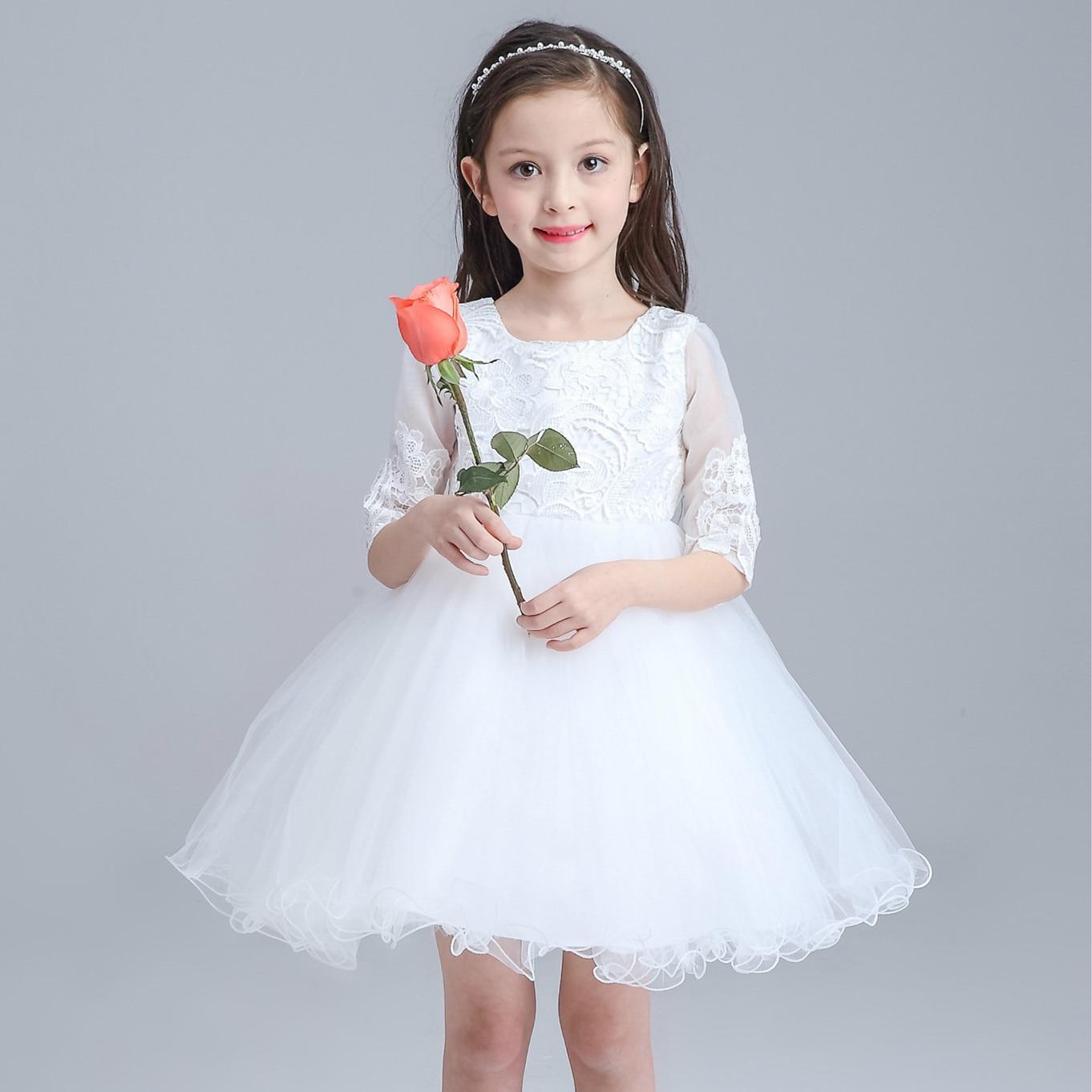 High Quality Childrens Wedding Flower Girl Dress Half Sleeved Baby Tutu Pink 0 2th Girls Princess 2017 Child Clothes Formal Fashion Akf164038