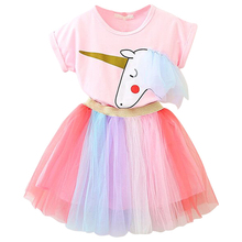 Girls Clothing Sets 2019 Summer Cotton Short Sleeve Unicorn Tshirt + Rainbow Skirt Children Casual Fashion Clothes