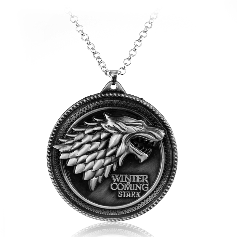 Hot Sale Game of Thrones Necklace House Stark Wolf Logo Metal Round Pendant Winter Is Coming Necklaces Silver Bronze