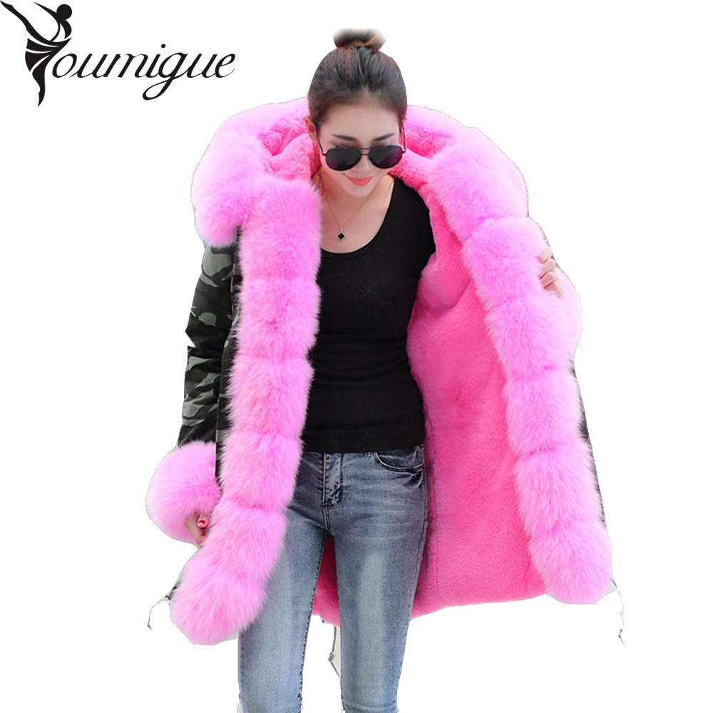 YOUMIGUE Parka plus size 2017 new long Camouflage winter jacket women outwear parkas real fox fur collar coat hooded pelliccia plus size 2017 women outwear long camouflage winter jacket thick parkas raccoon natural real fur collar coat hooded pelliccia