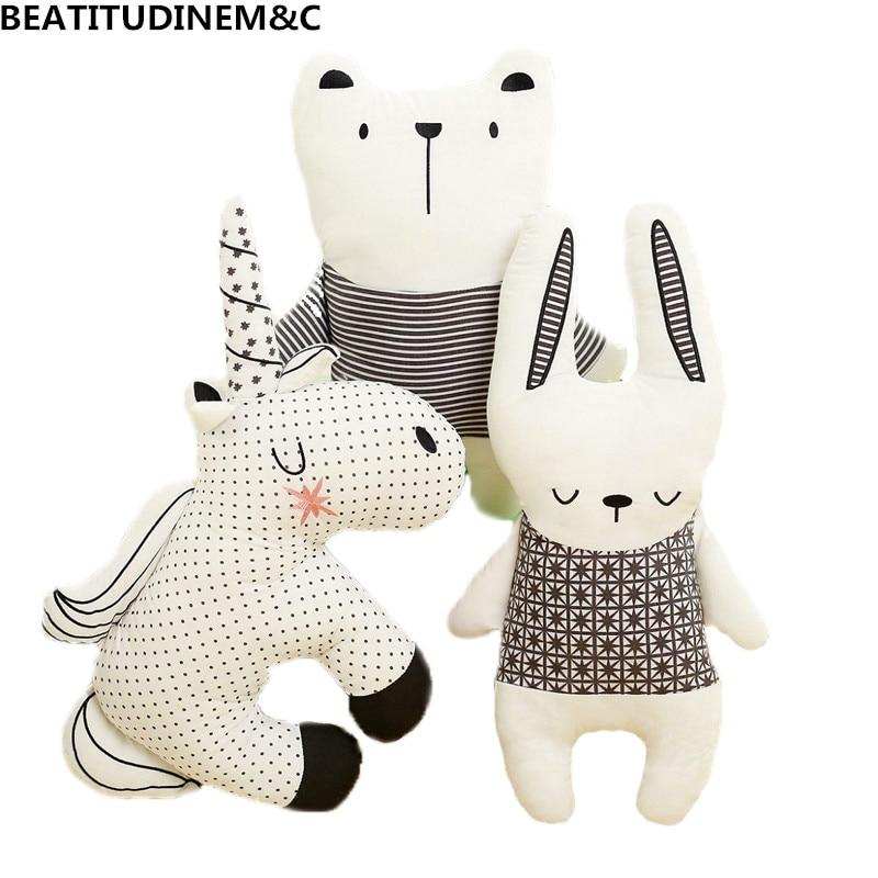 Nordic Style Rabbit Unicorn Bear Pillow Cushion Toys, Cotton Animal Plush Toys, Children's Toys, Baby Room Decoration
