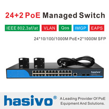 24 port Managed  Poe Ethernet Switch 400W managment switch with 24 port 10/100/1000M Rj45 PoE 2 Port SFP fiber