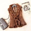 Осень зима женская подлинная настоящее трикотажные норки жилет рюшами воротником леди жилет меха жиле VK1367