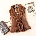 Autumn Winter Women's Genuine Real Knitted Mink Fur Vest Ruffle Collar Lady Short Waistcoat Women Fur Gilet VK1367