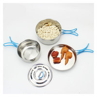 VILEAD Stainless Steel Camping Pot Portable Folding Outdoor Pot Supplies Silicone Handle Picnic Set Wild Donkey Tableware