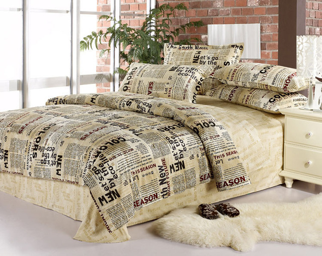 English Newspaper Bedding Set Queen Full Size Quilt Duvet Cover Bedsets Sheets Bed In A Bag