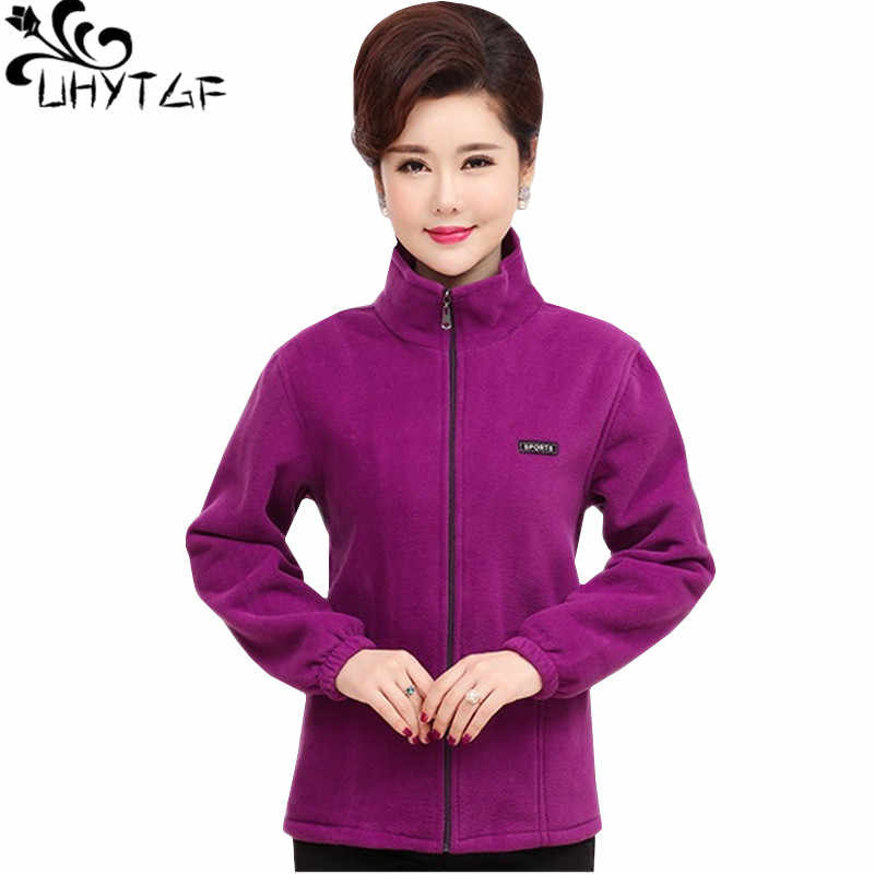 UHYTGF Casual women plus size jacket fashion fleece Elegant Lady autumn outerwear Standing collar Zipper Slim Ladies Jackets 314