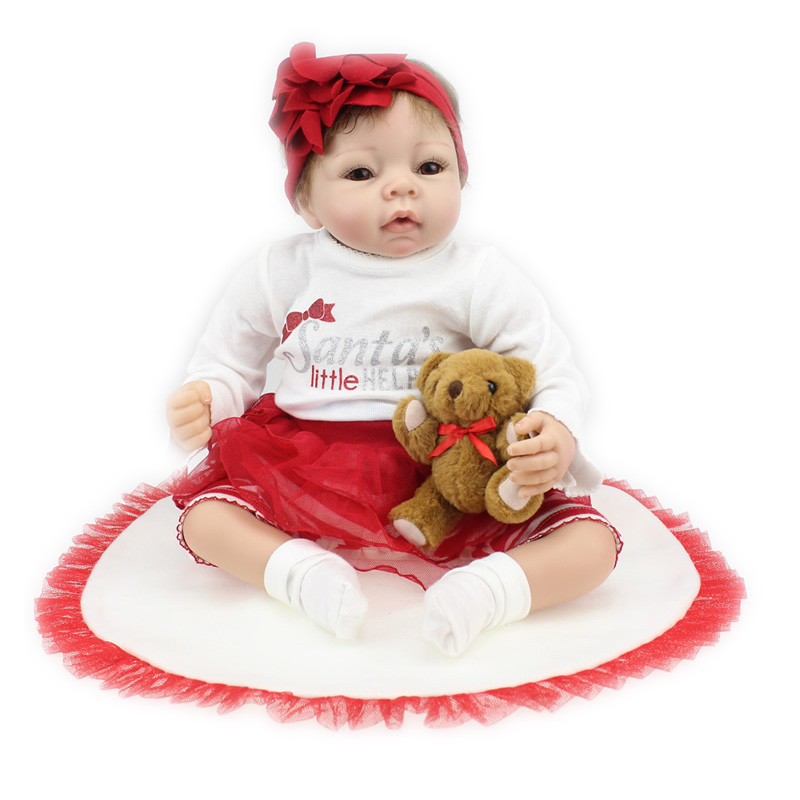 22 Lifelike Silicone Vinyl Reborn Baby Dolls Christmas Doll Birthday Gift Newborn Babies Boneca Girls Brinquedo Reborn Dolls christmas gifts in europe and america early education full body silicone doll reborn babies brinquedo lifelike rb16 11h10
