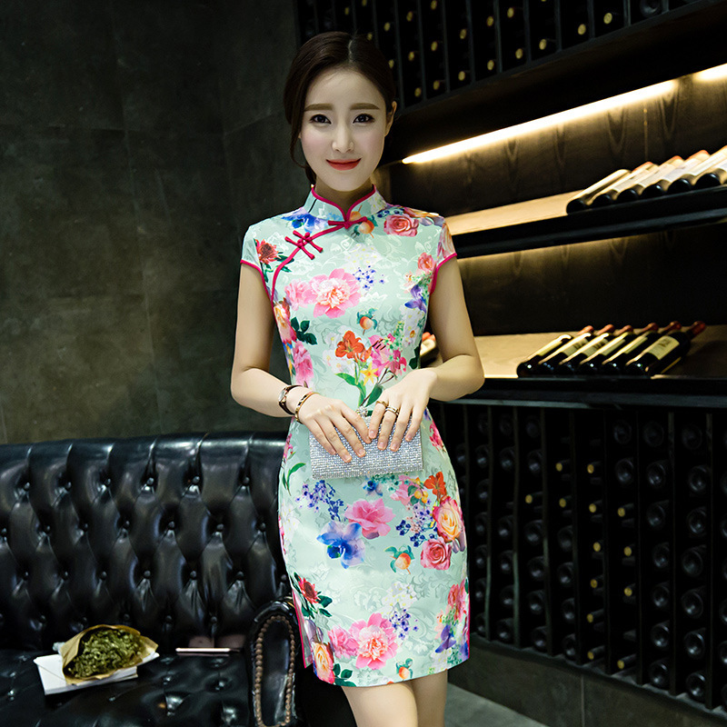 traditional chinese dress qipao short cheongsam mini women