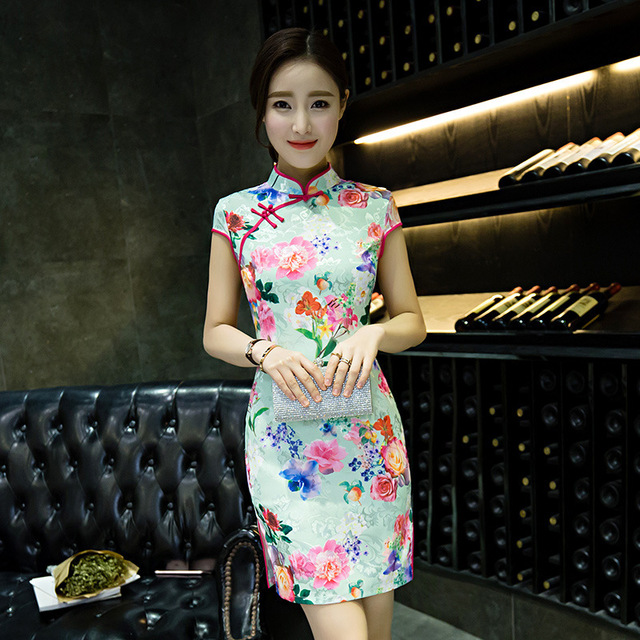 98e9acd42acfe US $22.5 |Traditional Chinese Dress Qipao Short Cheongsam Mini Women China  Clothing Sexy Modern Oriental Dresses Qi Pao Flower Vestido-in Cheongsams  ...
