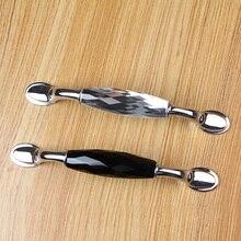 "5.0"" 3.75"" Black Clear Crystal Drawer Pull Handles Bright Silver Glass Dresser Door Handles Furniture Hardware Kitchen Handles"