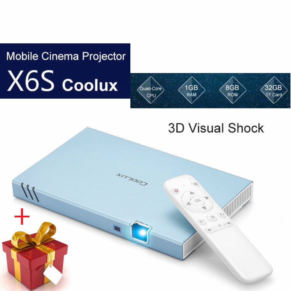 Coolux X6S Projecteur 1000 Lumens DLP 1080 P Cinéma Mobile Dual Core 2.4G 5G WiFi 2000:1 Double Lentille bluetooth Android 22DB Projecteur