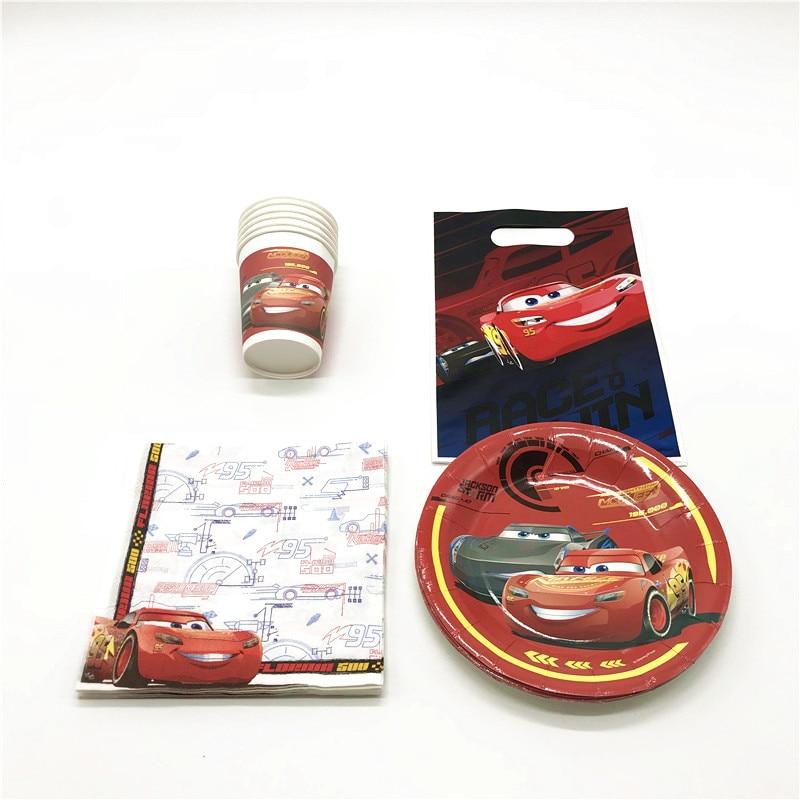 Autorizado Carros Disney Tema 46 pcs McQueen Placas Guardanapos Copos de Papel Decoração de Festa de Aniversário Do Menino Presente Plastic Bag Loot Abastecimento
