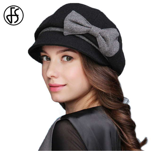 c64543e236f FS Vintage Octagonal Cap Winter Wool Felt Beret For Women Elegant Bow Berets  Female Short Brim