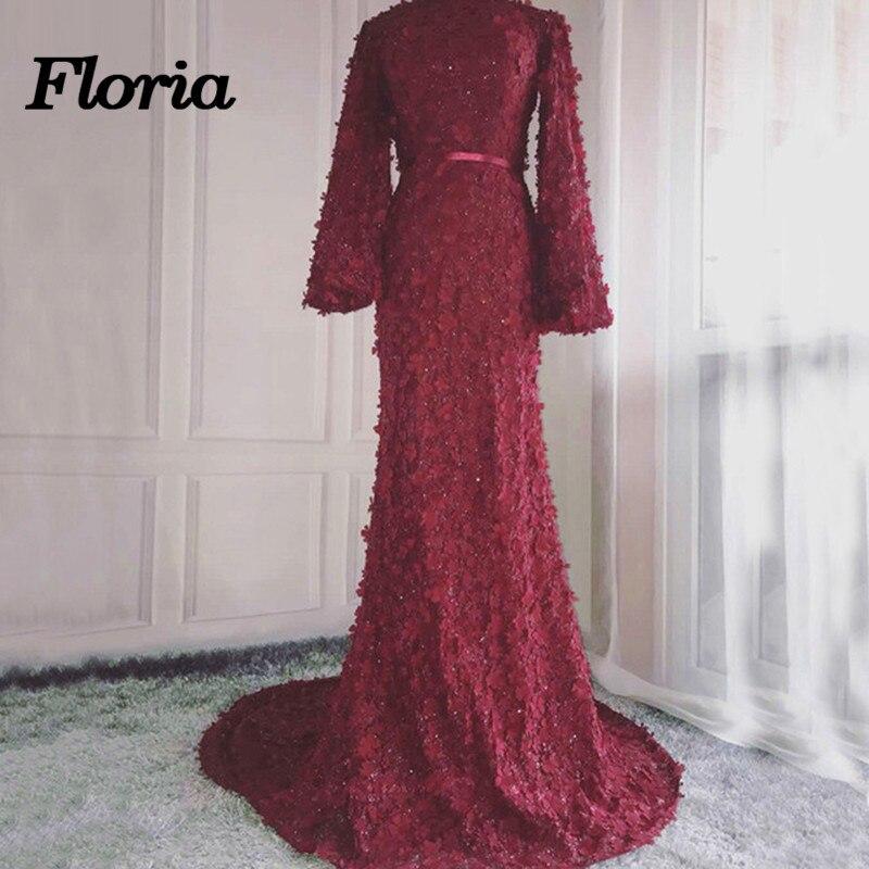 Arfican Wine Red Mermaid Evening Dresses 2019 New Arabic Muslim Dubai Long Sleeves Formal Prom Dress Party Gowns Robe De Soiree