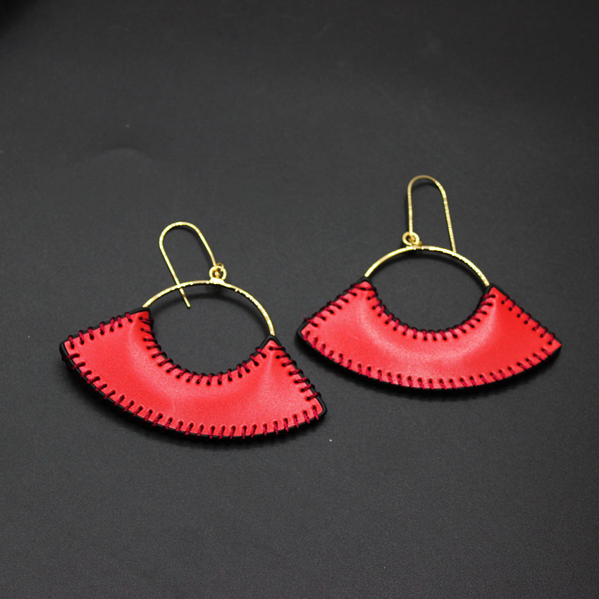 Red with the earrings hand-sewn fan-shaped leather earrings Japan and South Korea fashion earrings accessories female 602