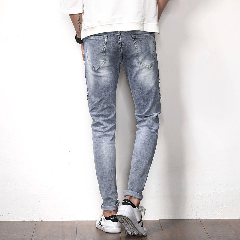 2018 New Men Jeans Runway Slim Racer Biker Jeans Fashion Hiphop Skinny Jeans For Men Denim Joggers Pants Male