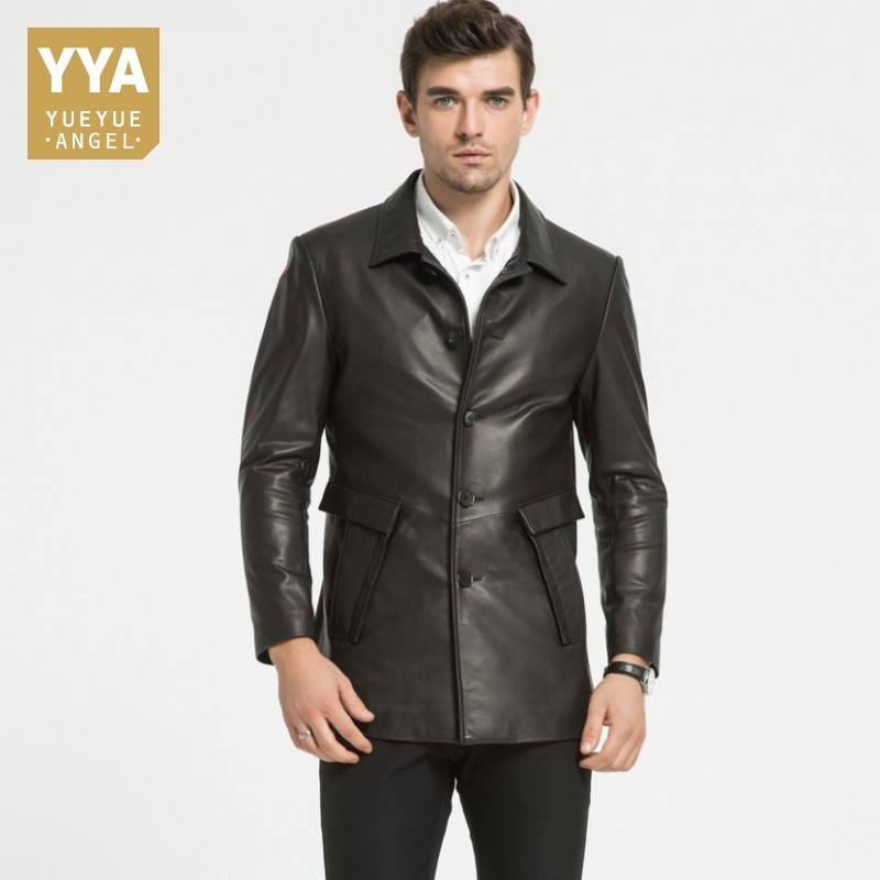 2019 Mens Business Leather Jacket Long Coat Middle Aged Men Single Breasted Formal Jackets Men Handsome Male Overcoat Outside(China)