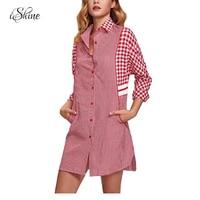 2017 Fashion Women Long Sleeve Red Checked Plaid Shirt Dress Splicing Plus Size Femme Vestidos Blusas