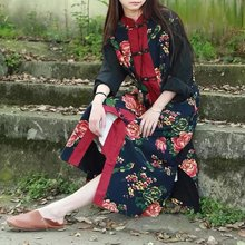 2017 Chinese Style Brand Long Sleeved Autumn Women Fashion Flowers Printed Floral Dress Retro Ethnic Cotton Plate Buttons Dress