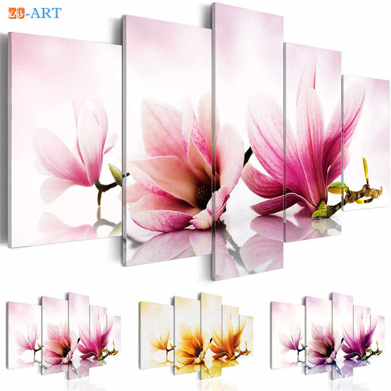 Colorful Magnolias Flowers Prints Canvas Painting 5 Pieces Wall Art Pink and Yellow Blossom Poster for Living Room Home Decor