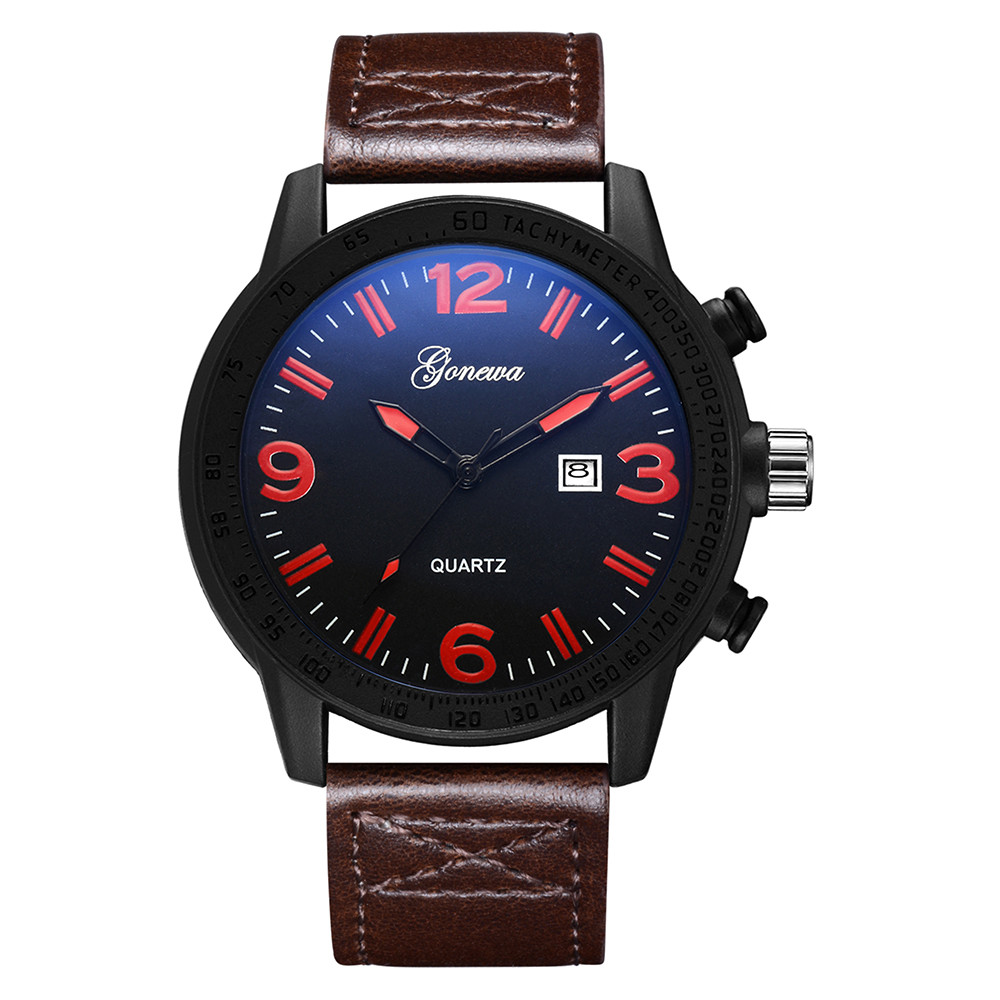 Men Stainless Steel Quartz Military Sport Leather Band Dial Wrist Watch men watch gift watch Relojes para hombre dignity 8.4