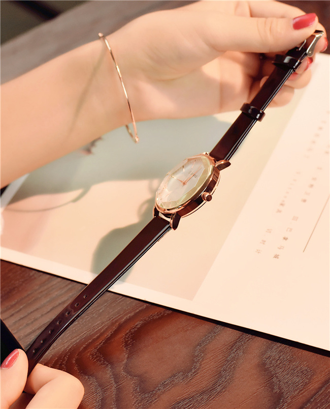 Polygonal dial design women watches luxury fashion dress quartz watch ulzzang popular brand white ladies leather wristwatch 19
