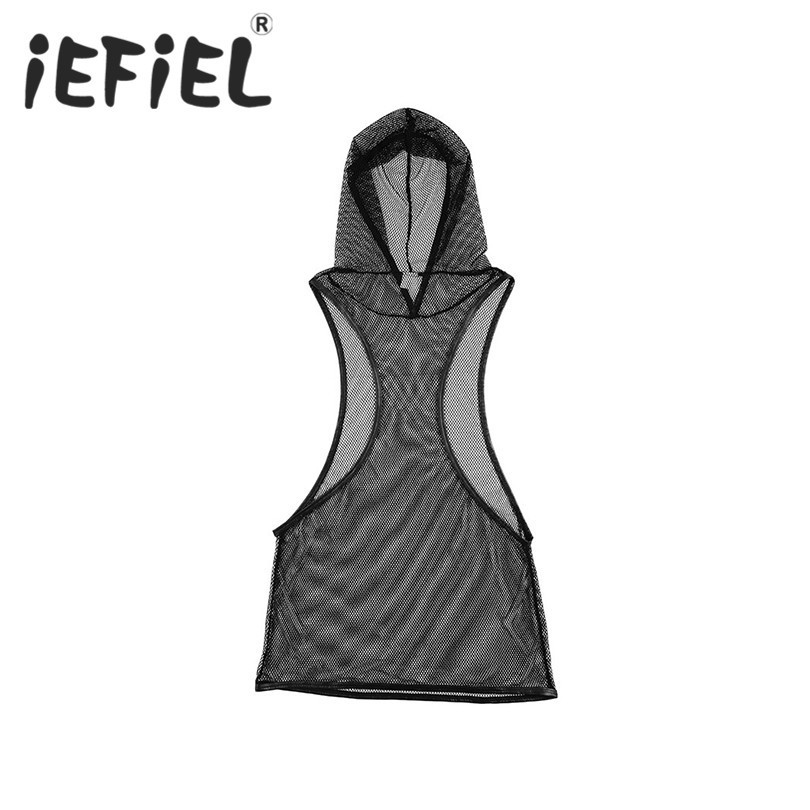 iEFiEL Fashion Mens Fishnet See-through Hooded Vest Tank Top Clubwear Nightwear Undershirt Guy Boys Vest Sleeveless Costume Tops