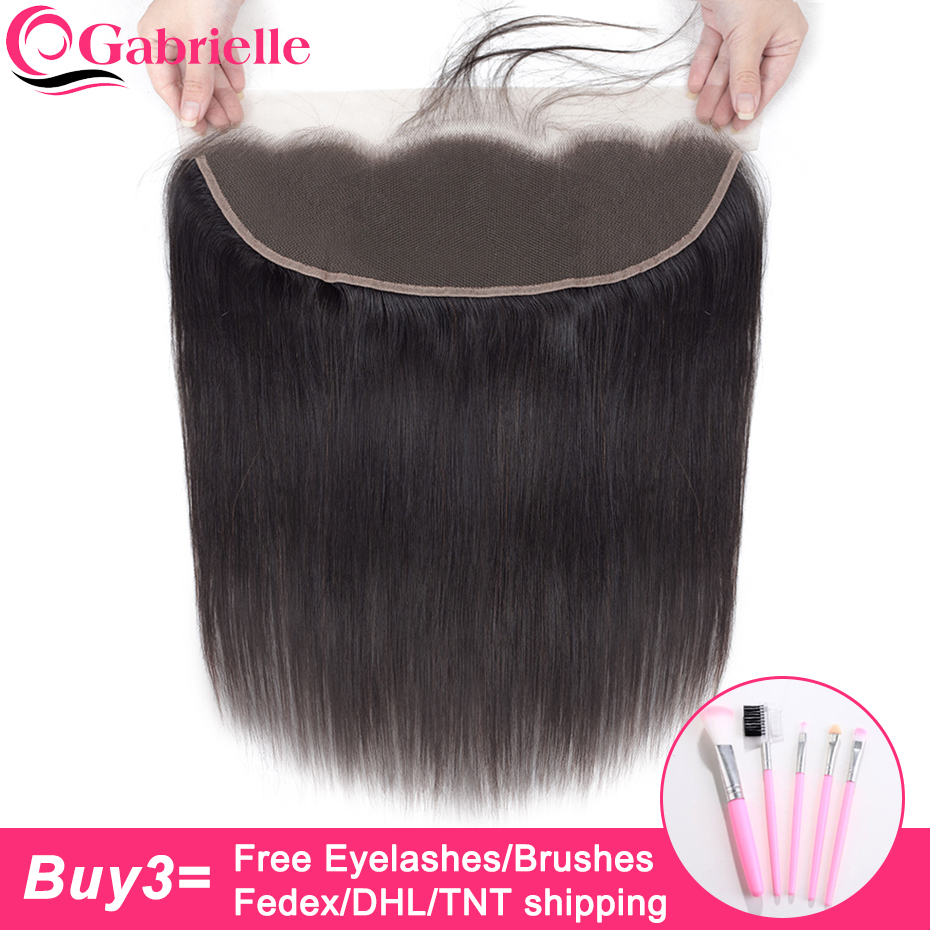 Gabrielle Brazilian Straight Hair 13x4 Lace Frontal Closure Natural Color Non Remy Human Hair 8-22 Inch Free/Middle/Three Part(China)