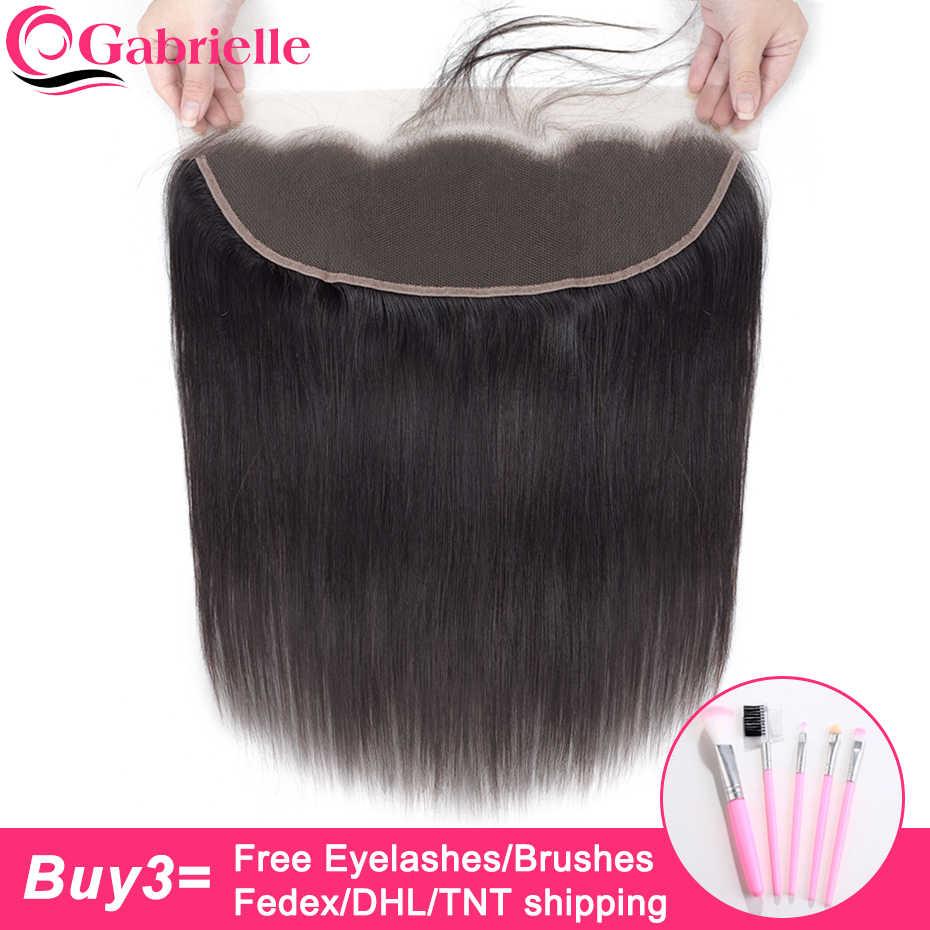 Gabrielle бразильские прямые волосы 13x4 синтетический фронтальный закрытие натуральный цвет не Реми человеческие волосы 8-22 дюймов бесплатно/средний/три части