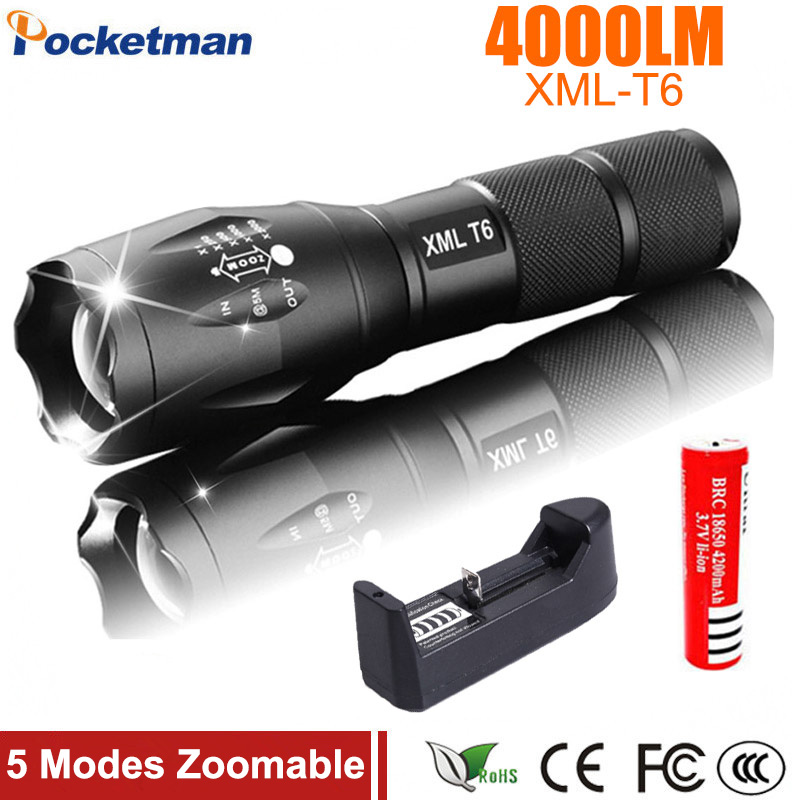 XM-L T6 LED Flashlight Torch Light Zoomable 5-Mode LED Flash Light 4000LM Linterna LED Lanterna 18650 Rechargeable Battery стоимость
