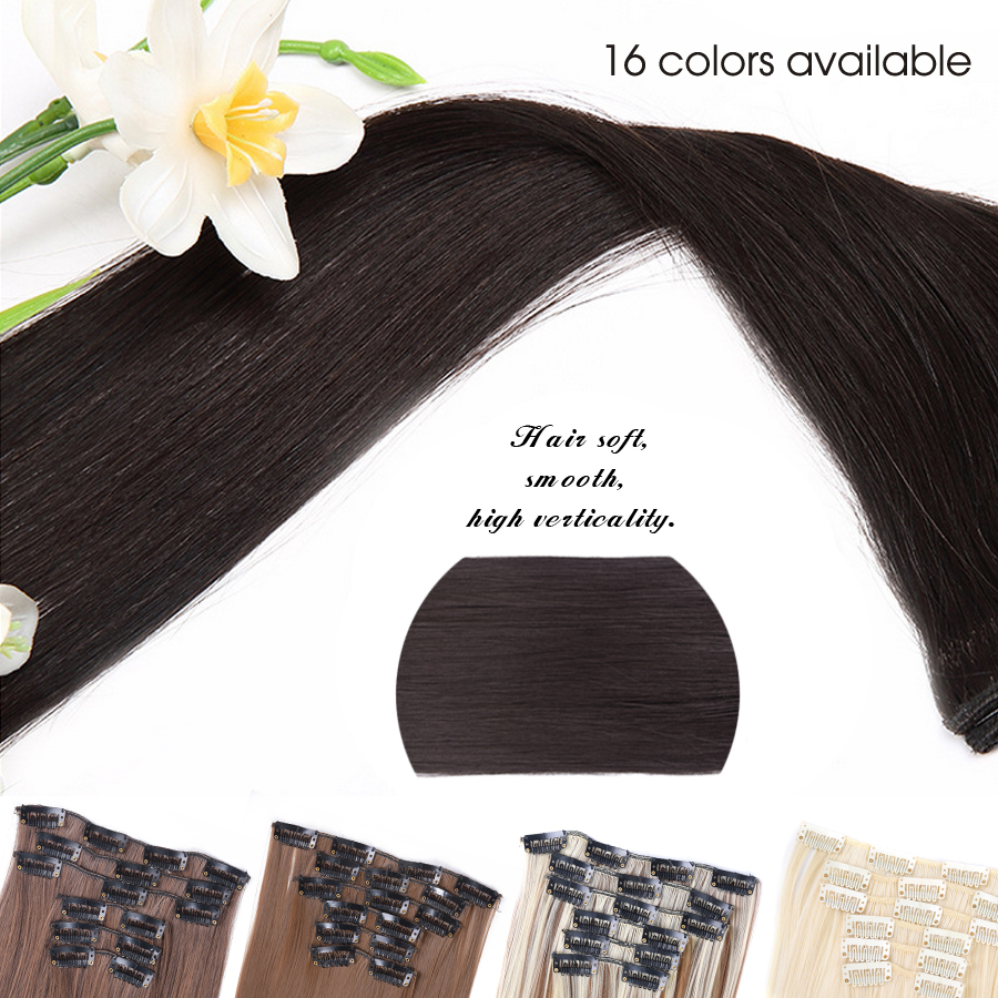 Leeons 16 colors 16 clips Long Straight Synthetic Hair Extensions Clips in High Temperature Fiber Black Brown Hairpiece 4