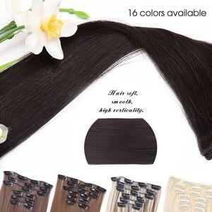 Leeons 16 цветов 16 клипсов длинные прямые синтетические волосы для наращивания на заколках из высокотемпературного волокна черный коричневый шиньон