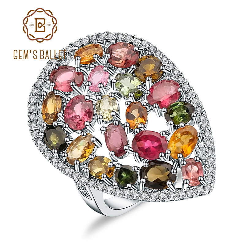Gem s Ballet 925 Sterling Silver Ring 5 21Ct Colorful Natural Tourmaline Gemstone Cocktail Rings For