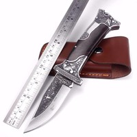 Sharp Handmade Folding Pocket Knife D2 Blade Camping Tactical Survival Knives Ebony Handle EDC Multi Tool