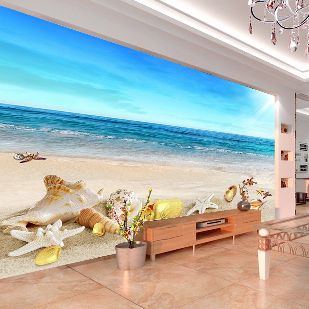 Custom mural wallpaper beach shellfish starfish interior for Beach mural wallpaper