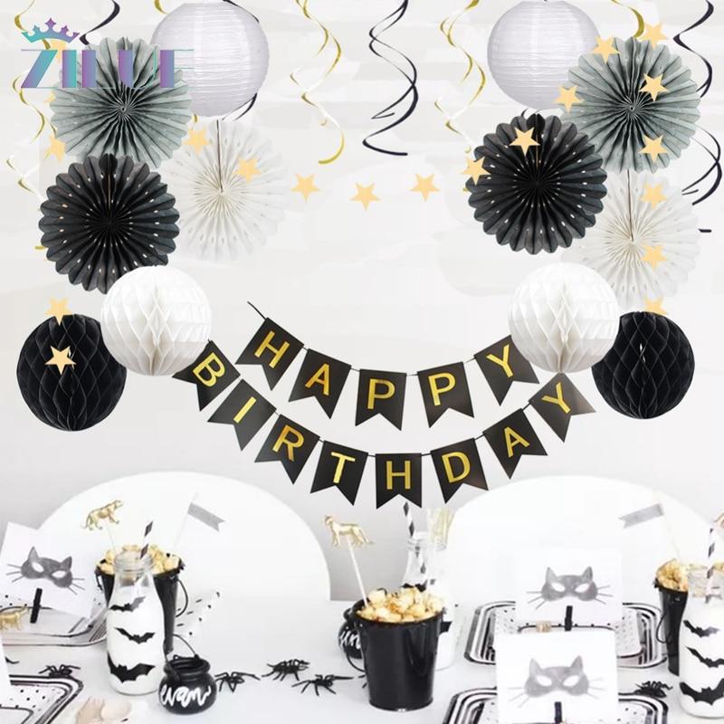 Zilue 24Pcs/Set Hanging Paper Lantern Star Garland Honeycomb Balls For Birthday Party Wedding Decor Foil Hanging Swirls Ornament