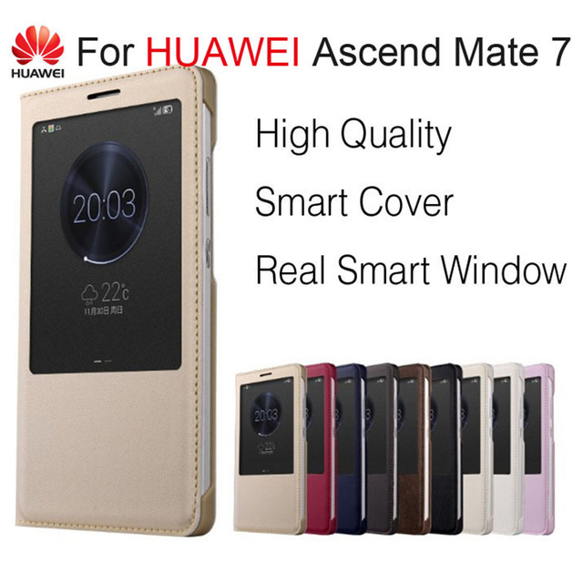 quality design 9d731 24c32 US $3.79 5% OFF|Flip Cover for Huawei Ascend Mate 7 Case High Quality Smart  window Flip Leather Phone Cover Fundas Capas for Huawei Mate 7 6.0-in Flip  ...