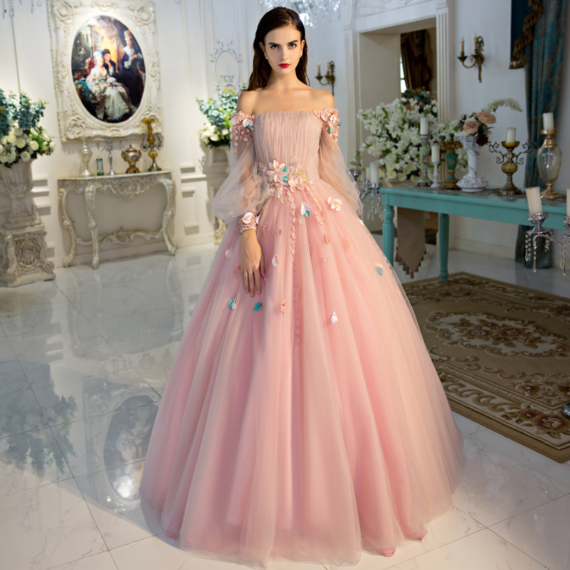 Vestido De Noiva Romantic Sweet Flower Fairy Prom Dress Bride ...