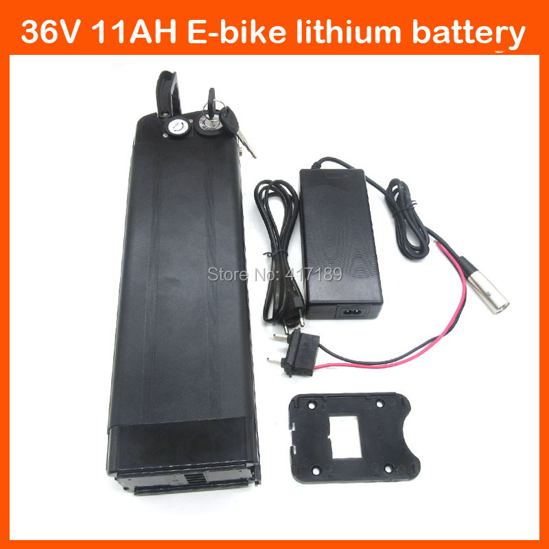 36 V 500W Electric Bike battery 36V 11AH Lithium silver fish battery with USB Port 42V 2A charger BMS Bottom discharge image