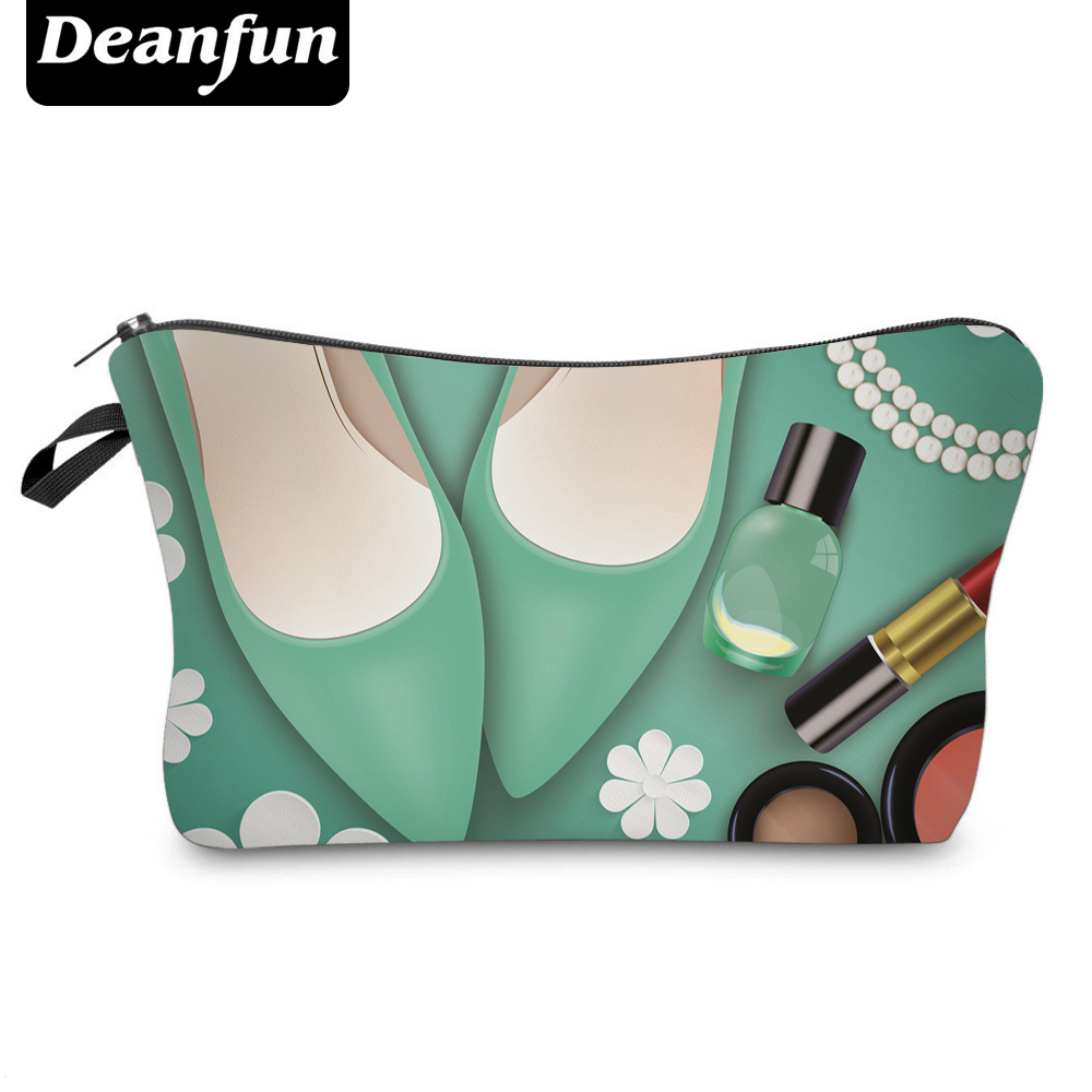 цена на Deanfun Cosmetic Bags 3D Printed Hot Sale Zipper Polyester Green Travel Organizer Necessarys For Women Makeup Fashion 50754