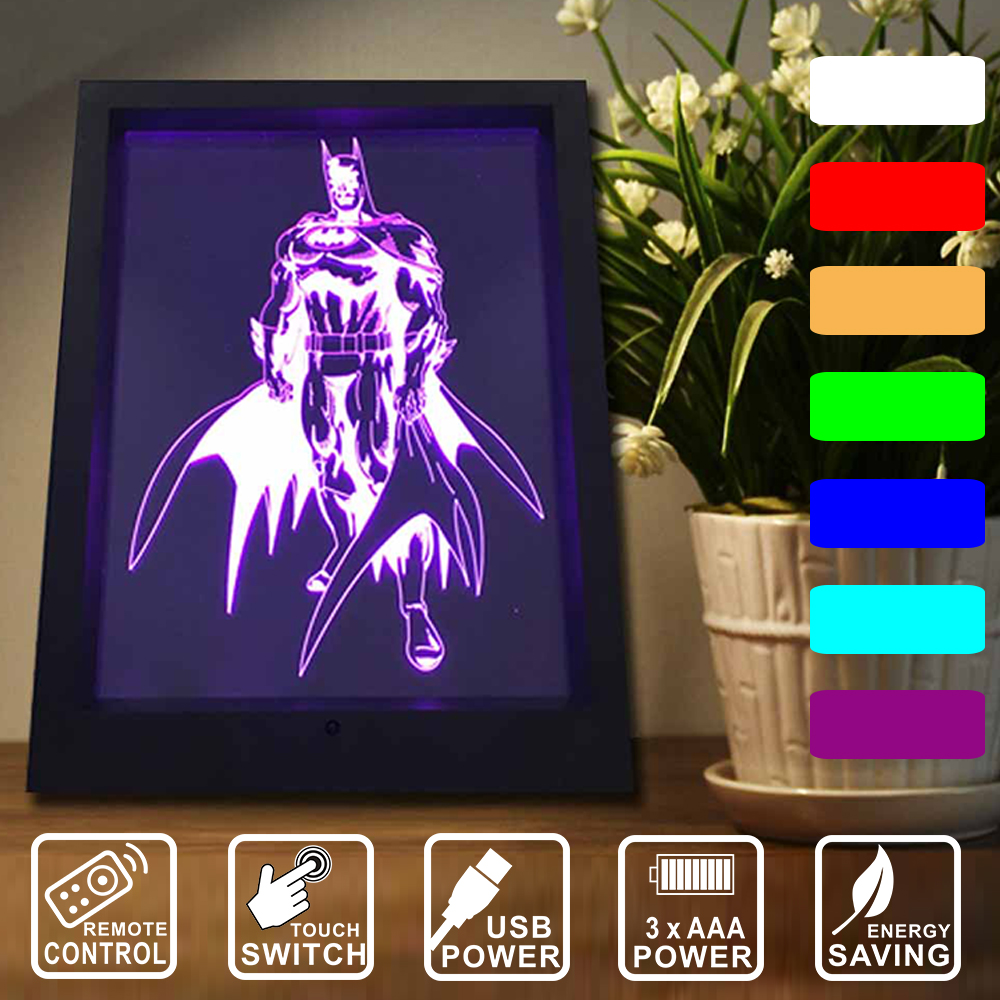 Remote control/touch switch 7 color changing Night Lights Batman 3D Vision lamp LED decor frame light as gift for kids IY803753 easter gift remote control led color change night light