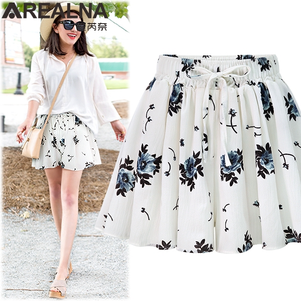 2018 Summer high waist   shorts   women Loose Floral   Shorts   Skirts Plus Size 5XL Women   Short   Pants Ladies Wide Leg   Shorts   HotPants