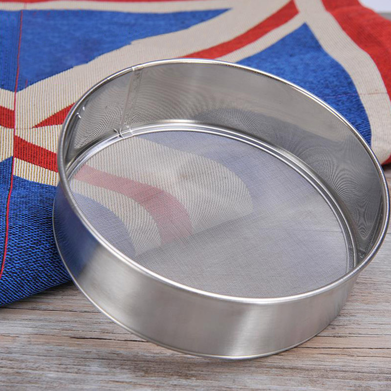 Stainless Steel Flour Sifter  Mesh  Baking Flour Colander Sieve Hand Crank  Tool