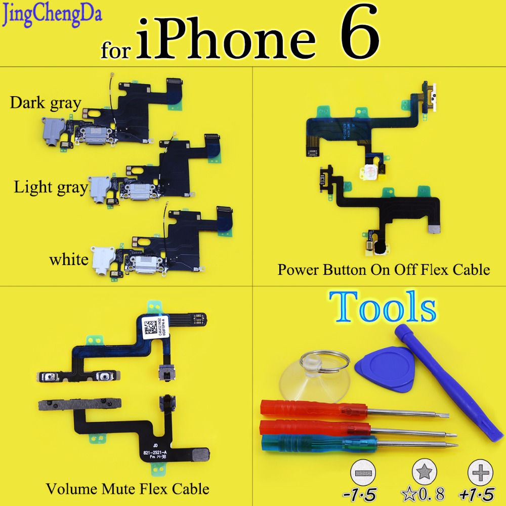 Original For Iphone 6 Plus Mute Volume Switch On Off Key Power Fleksibel 6sp Jing Cheng Da Charging Flex Cable Usb Charger Port Dock Connector