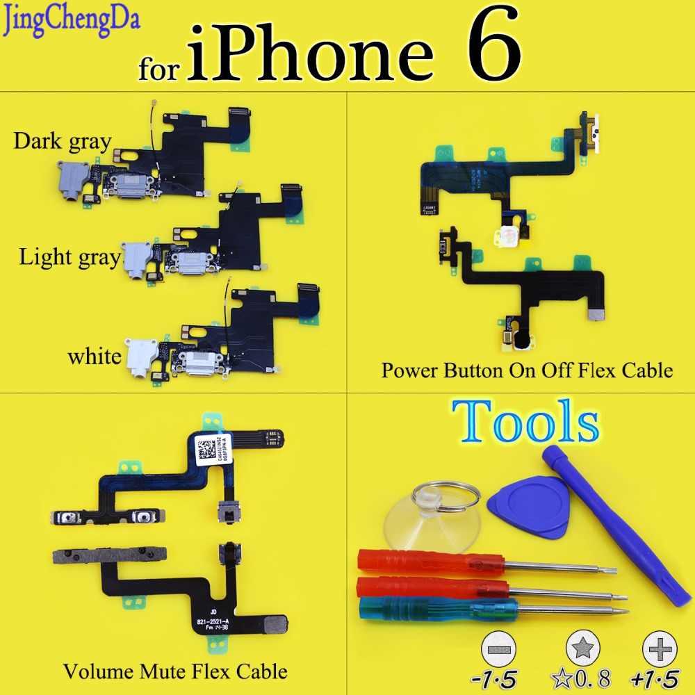 JCD зарядный гибкий кабель для iPhone 6 USB зарядное устройство Порт док-разъем/кнопка включения/кнопка регулировки громкости Отключение звука