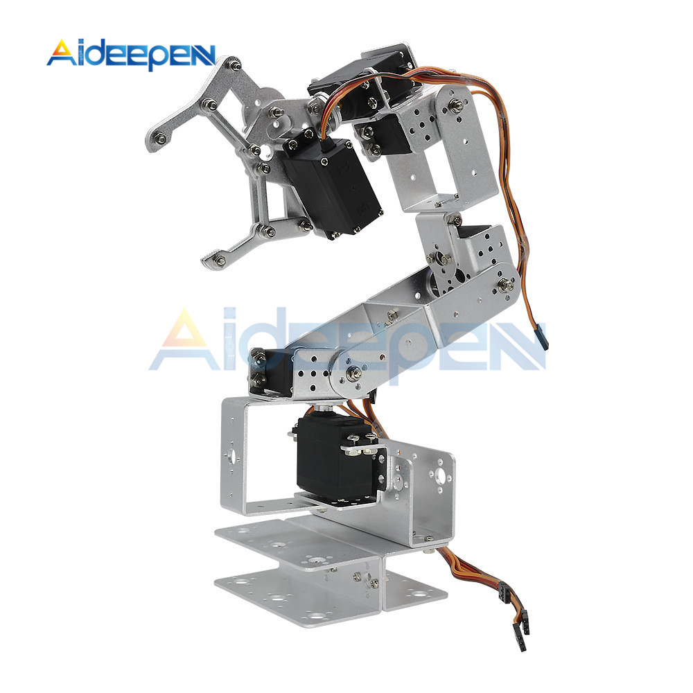 ROT3U 6 Aluminium Robot Arm Mechanical Robotic Clamp Claw for Arduino Silver Black|Instrument Parts & Accessories| |  - title=