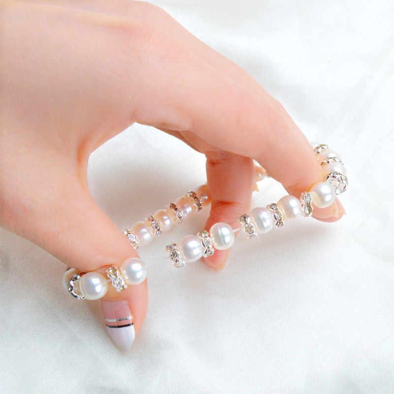 Женский жемчужный браслет-амулет ASHIQI, браслеты из натурального пресноводного жемчуга 8–9 мм, с элементами из богемского стекла